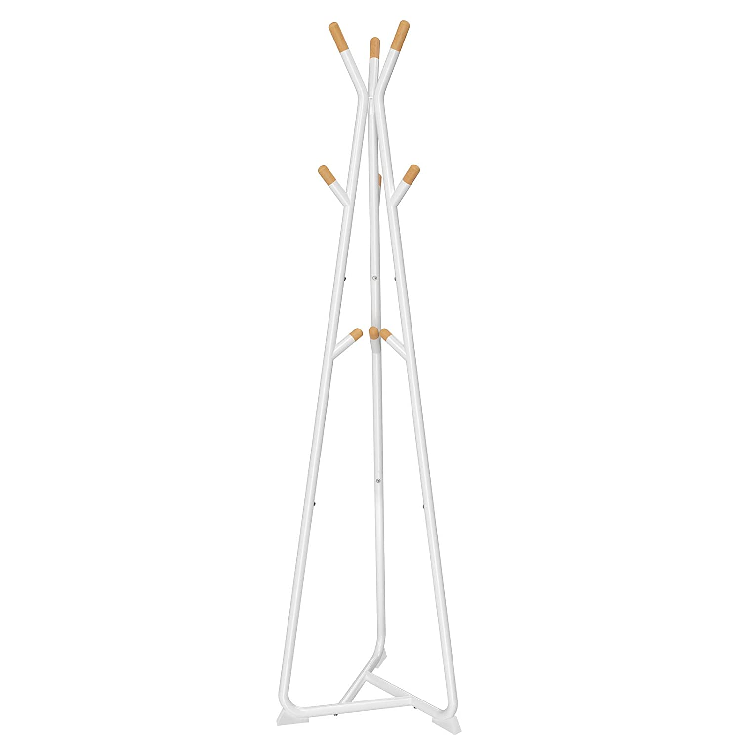 SONGMICS Coat Rack Stand, Coat Tree, Hall Tree Free Standing, with 9 Beech Wood Hooks, for Clothes, Hat, Bag, White, Natural Grain, RCR15WY