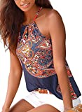 Astylish Women's Summer Floral Print Sleeveless Halter Cami Tank Tops Multicoloured Small Size 4 6