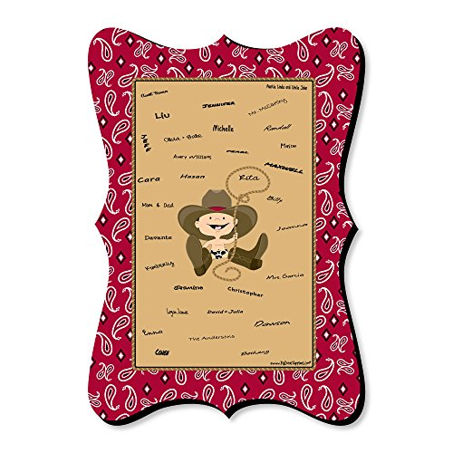 Big Dot of Happiness Little Cowboy - Unique Alternative Guest Book - Western Baby Shower or Birthday Party Signature Mat]()