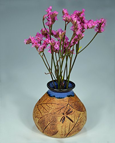 Leaf Vase Handmade Stoneware Clay Pottery w/Dragonfly Impression - Pottery Impressions