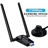 Ssnwrn USB WiFi Adapter 1750Mbps, USB 3.0 Wireless Network Wifi Dongle with 5dBi Antenna High Speed Dual Band 2.4GHz/5.8GHz 1300Mbps 802.11ac/b/g/n Wireless Adapter for Desktop/Laptop/PC