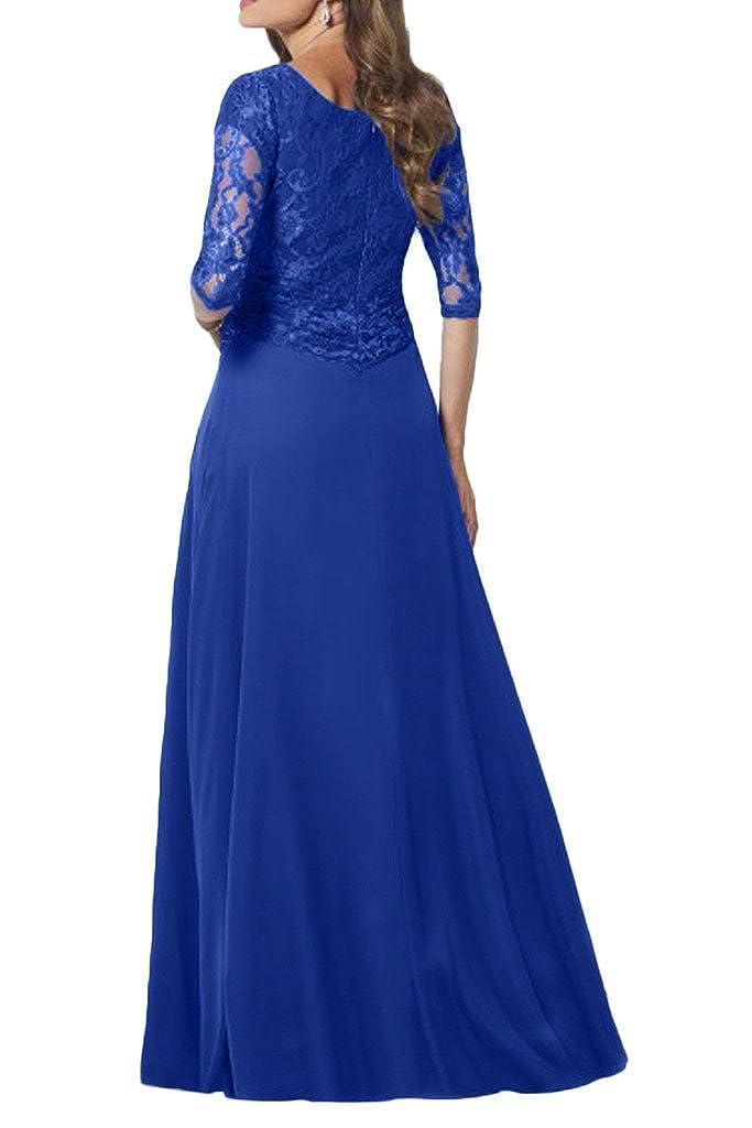e80ef289656 Milano Bride Elegant Damen Chiffon Spitze Brautmutter Kleider Abendkleider  Festkleider Lang mit Aermel  Amazon.de  Bekleidung