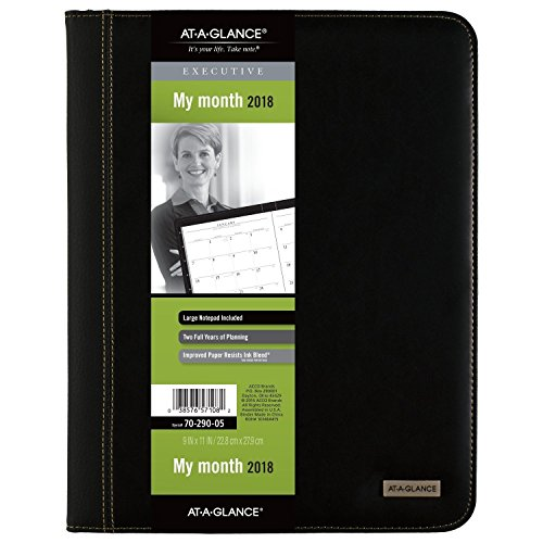 "AT-A-GLANCE Monthly Padfolio / Planner 2018, 9 x 11"", Executive, Black (70-290-05) free shipping"
