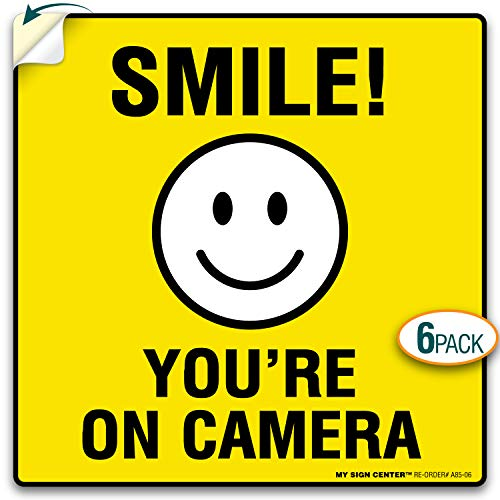 "My Sign Center (4 Pack) Smile You're On Camera Sticker, 24 Hour Video Surveillance Sticker, Premium 4 Mil Self Adhesive Vinyl Decal, Indoor and Outdoor Use, 5.5"" x 5.5, A85-06"