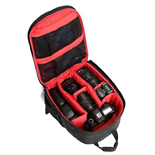 Heekpek Kameratasche DSLR Shockproof wasserdichter Rucksack für Sony Canon Nikon mit Stativhalter Rot
