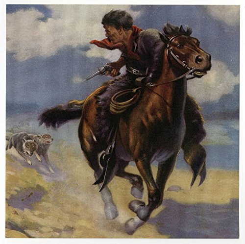 (Vintage Antique 1930s Cabin Art Print Featuring a Cowboy on Horseback Being Chased by Wolves by Robert Atkinson Fox)