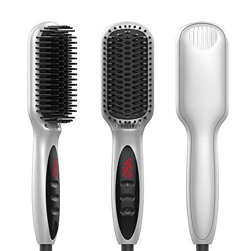 Enhanced Hair Straightener Brush Digital Hot Air Brush Ionic Straightening Comb, 450 Degrees, Auto Shut Off, Adjustable Temperature Suitable, Dual Voltage, Anti-Scald, MCH Heating White