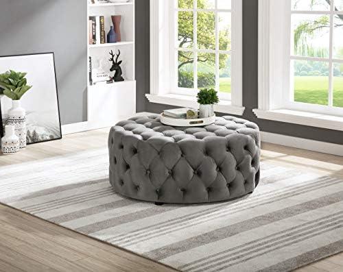 Best Master Furniture SH002GV Sherlyn Tufted Velvet Round Ottoman Footstool, Gray