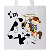 Inktastic - I'm Four-cowboy riding horse birthday Tote Bag White 2c9fa