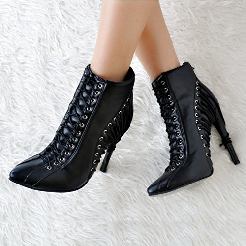 Lace Handmade High CASSOCK Boots Ladies Eyelets Heel Crosscriss Deco Fashion up Black Ankle ZSwxBxHqUF