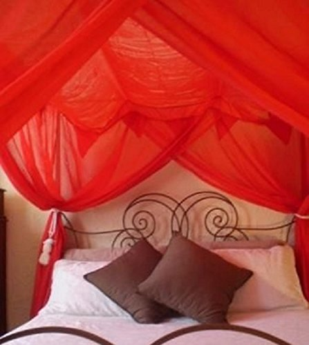 OctoRose 4 Poster Bed Canopy Netting Functional Mosquito Net, Red (Red Bed Canopy Netting)