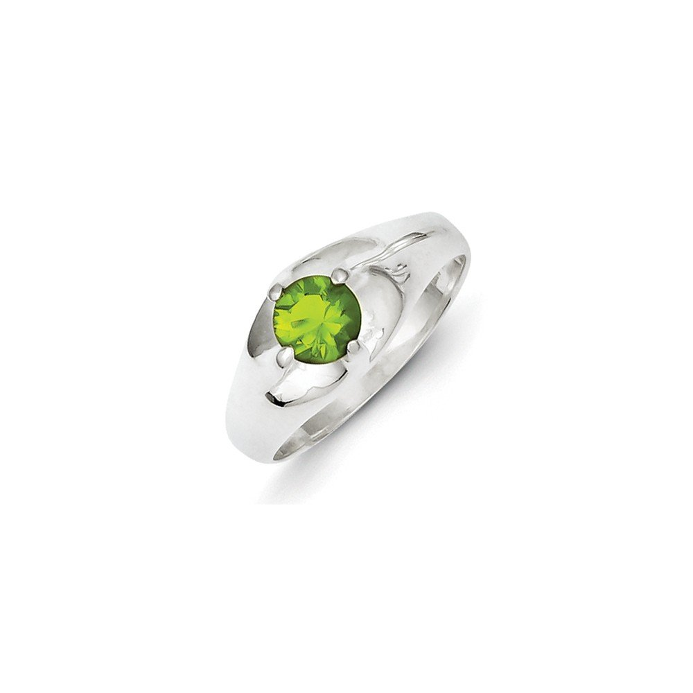 Sterling Silver Fashion Ring Lime Green Round CZ Ring