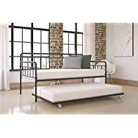 Modern Wallace Daybed with Trundle Bundle, Twin Metal Bed Frame, Slats Support Memory Foam and Coil Mattresses, No Foundation or Box Spring Needed, Mattresses not Included, Black