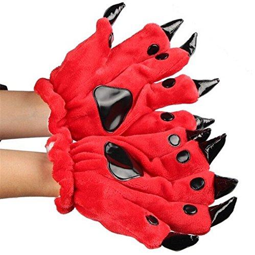 Fusicase Unisex Winter Plush Adult Warm Animal Dinosaur Costume Paw Claw Gloves(Red) (Red Dinosaur Costume)
