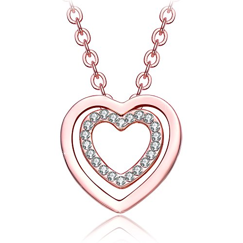 Christmas Gifts For Women Neemoda Crystal Heart Pendant Necklace For Girls Fashion Jewelry Gifts For Her Birthday Anniversary Valentines Day Rose Gold Plated