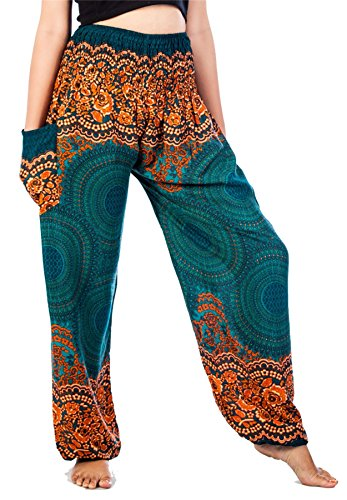 Lofbaz Women's Smocked Waist Rose Flower Harem Pants Teal Green Size XL
