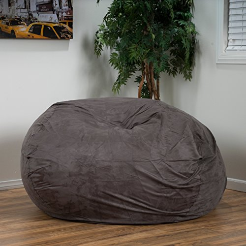 Bag Suede Bean Faux Lounger - ModHaus Living Modern Faux Suede 5 Foot Lounger Beanbag Chair - Includes Pen (Charcoal)