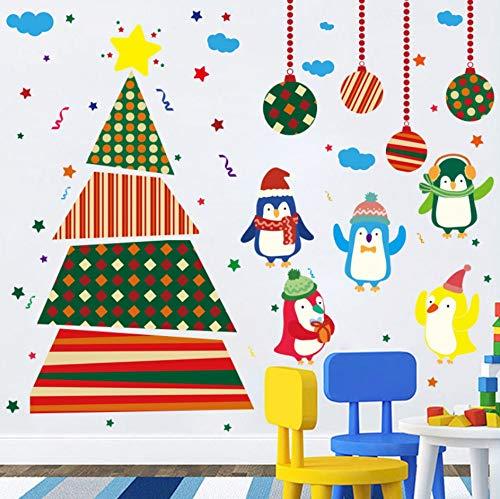 Looyy DIY Christmas Tree Penguin Wall Stickers for Kids Rooms Nursery Baby Bedroom Children Holiday Decals Vinyl Murals