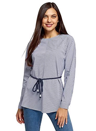 oodji Ultra Damen Taillierte Bluse mit Gürtel