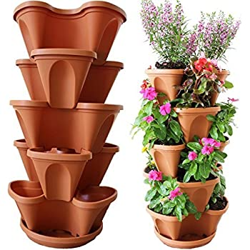 Amazon.com : Terracotta Color 3-Tier Stacking Planter