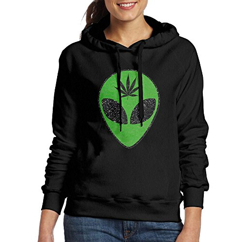 HERFeminist Alien Head Leaf Cannabis Weed Women Fall/Winter Vintage Durable Fashion Warm Cotton Hoodie