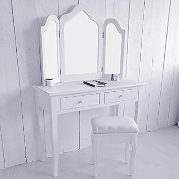 Lounge Zone Schminktisch Frisiertisch Kosmetiktisch Schminkkommode  Frisierkommode Landhausstil Modern Schlafzimmer Spiegelaufsatz Schwenkbare  Spiegel Antik  ...