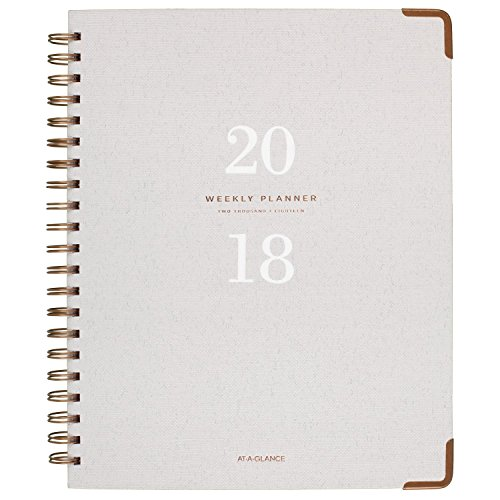 "AT-A-GLANCE Weekly / Monthly Planner, January 2018 - January 2019, 8-3/4"" x 11"", Hardcover, Signature Collection, Gray (YP90512)"