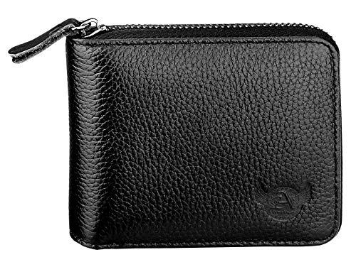Admetus Men's Genuine Leather Short Zip-around Bifold Wallet Black