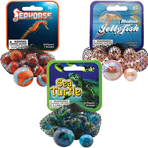 Mega Marbles 3 Pack - Jellyfish, Sea Turtle, & Seahorse Game Nets - Includes 1 Shooter Marble & 24 Player Marbles Per Net ()