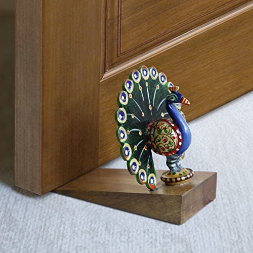 Decorative Small Wooden Door Stopper Doorstop Holder Hand Carved in a Peacock Shape Floor Blocker Closers Jammer Home Furniture - In Office Corporate Shape