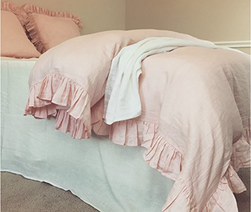 Super Amazon Com Ruffle Pink Linen Duvet Cover Pink Bedding Download Free Architecture Designs Intelgarnamadebymaigaardcom