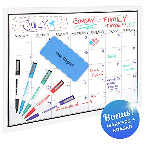 "Magnetic Dry Erase Monthly Calendar for Refrigerator - 17X12"" - 5 Fine Tip Markers and Large Eraser with Magnets - Stain Resistant Surface - Whiteboard Organizer Planner. Perfect Fridge White Board ()"