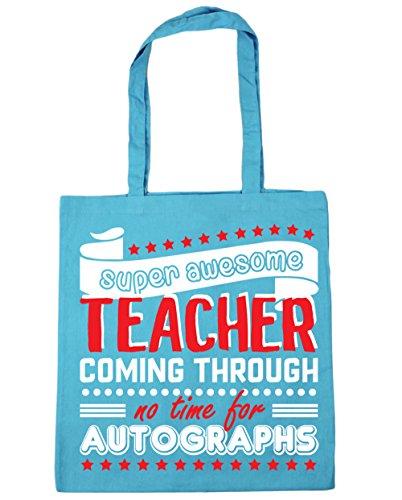 HippoWarehouse - Bolsa de playa con estampado «Super Awesome Teacher Coming Through No Time For Autographs»; 42cm x 38cm, 10litros azul (Surf Blue)