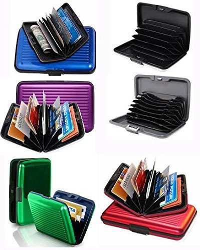 Set of 6 Aluminium Metal Credit Card Wallet Holder/Moneybag Storage- Prevent Identity Theft by Blocking RFID Scanning of your Credit cards (Assorted Colors) Size (Hard Case Wallet)