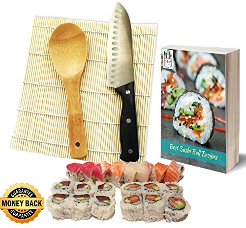 UPC 644042580726, Sushi Kit - Sushi Making Kit - Sushi Roll Kit - Stainless Steel Knife, Bamboo Mat, Rice Spoon - Perfect for Beginners by D&M Kitchen