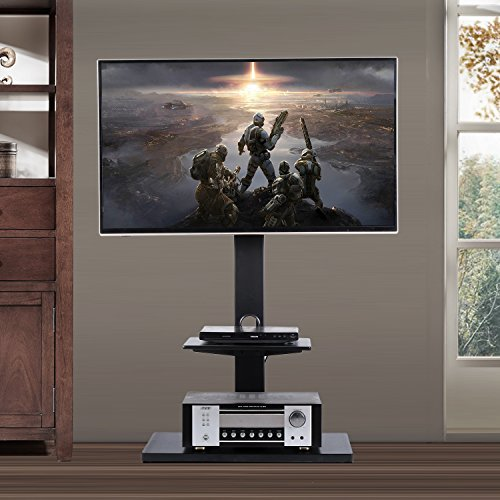 Rfiver Swivel Floor TV Stand with Mount and Two Shelves for 32 to 65 Inches Plasma/LCD/LED TVs, Black (Curved Wire Design)