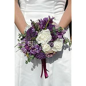 Silk Flower Arrangements Silk Blooms Ltd Quirky Purple Freesia & Roses Bridal Wedding Bouquet