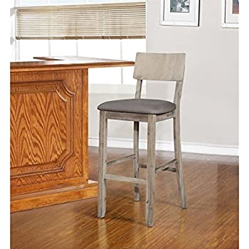 Amazon Com Linon Jordan Gray Wash Bar Stool Kitchen Amp Dining