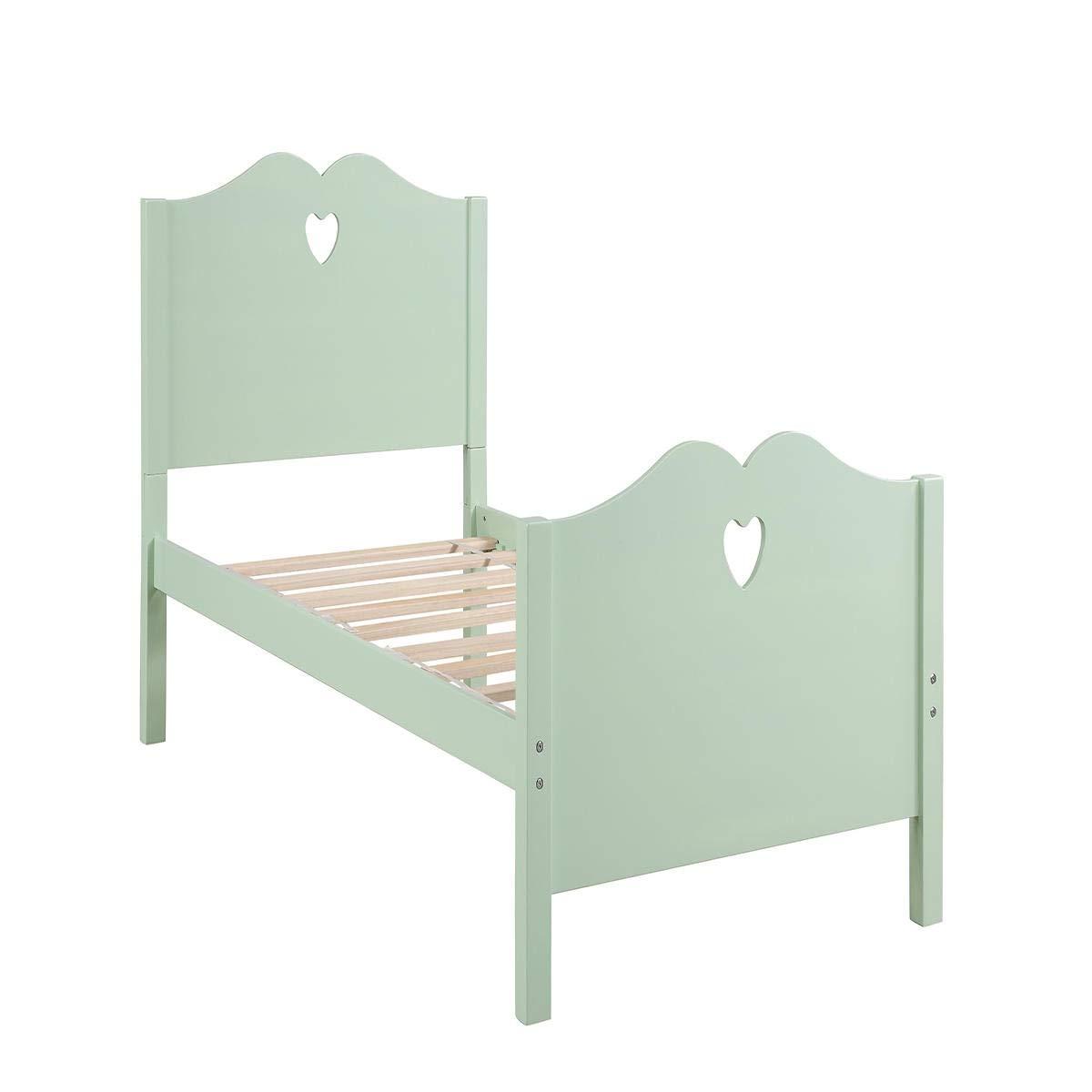 Burnell Wilcox Bettrahmen Bettrahmen Twin Platform Bett mit Holzlattenrost und Kopf- und Fußteil (Farbe : Green)