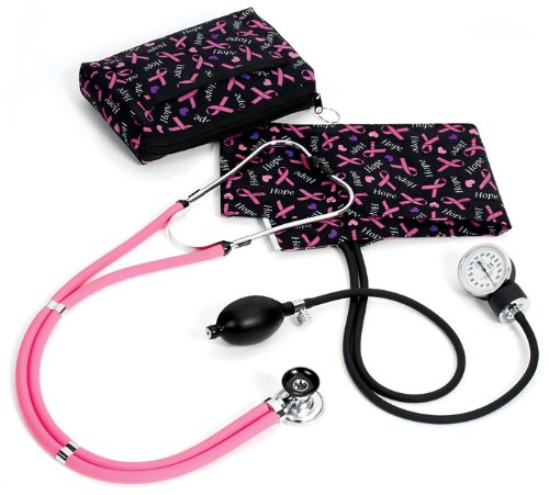 Prestige Medical A2-prb Sprague/Sphygmomanometer Kit with Carrying Case Pink Ribbon Black (Ribbon Stethoscope Pink)