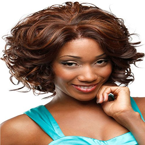 ZLJTYN Short Curly Hair Wigs For Black Women Fluffy Wavy Synthetic Wig Halloween Costume Wig Natural Looking Heat Resistant Wigs With Wig (Daily Costumes Pic)