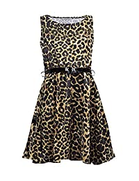 MA ONLINE Womens Party Wear Flared Fancy Ladies Belted Sleeveless Fancy Skater Dress