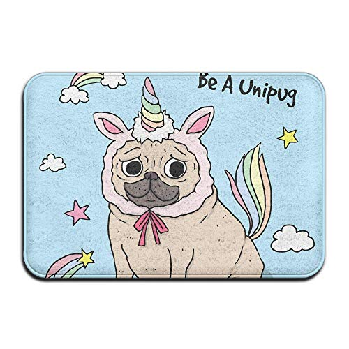 GTdgstdscSmall Indoor Outdoor Entrance Rug, Floor Mats, Non Slip Doormat for Front Door, Entrance Mat, Machine Washable 15.74inch X 23.62inch Stylish Welcome Mats Funny Pug with Unicorn Costume
