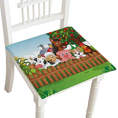 HuaWuhome Dining Chair Pad Cushion Collection Farm Animals Fashions Indoor/Outdoor Bistro Chair Cushion 30''x30''x2pcs by HuaWuhome
