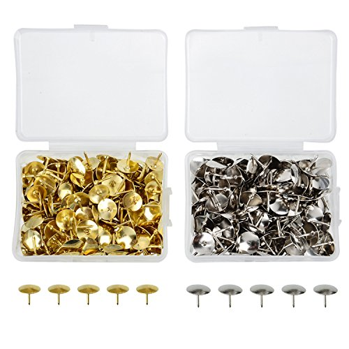 Shappy 400 Pieces Thumb Tacks Drawing Pins Pushpins Thumbtacks for Office or DIY, 10 mm Head, Silver and Brass Tone