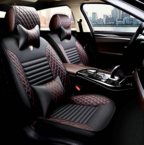 Universal Fit Car Seat Cover WillMaxMat Front&Rear Seat Cushions for Jeep Wrangler 2008-2017 4 doors - Black w/ Red Stitching