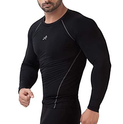 ee87c89d ReDesign Apparels Nylon Compression Top Full Sleeve Tights T-shirt Skins  for Gym (Black