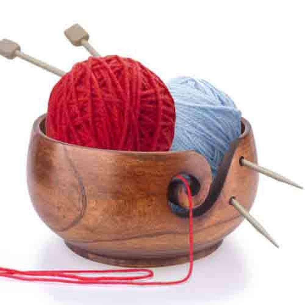 HOKUGA Shelf Storage - Storage Trays Eco-Friendly Wooden Yarn Storage Bowl Organizer for Knitting Crocheting Hand Made Unique Yarn Wooden Bowl Storage Box Storage
