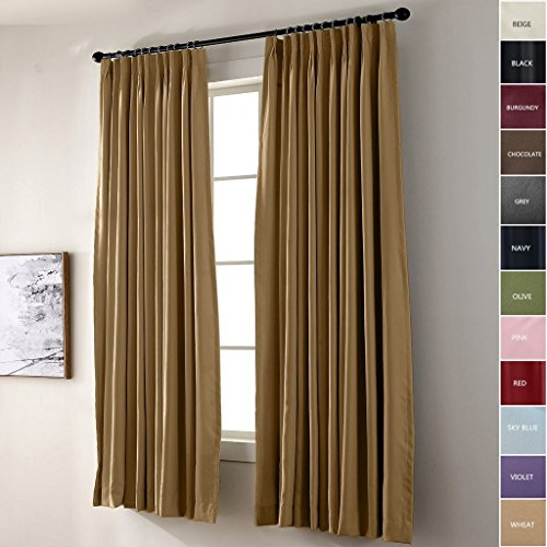 IYUEGO Pinch Pleat Solid Thermal Insulated 95% Blackout Patio Door Curtain Panel Drape For Traverse Rod and Track, Wheat 84W x 72L Inch (set of 1 Panel)
