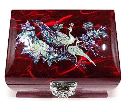 (MADDesign Music Box Jewelry Ring Organizer Wood Mother of Pearl Inlay Peacock Red)